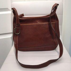 Vintage Talbots Brown Leather Shoulder Bag